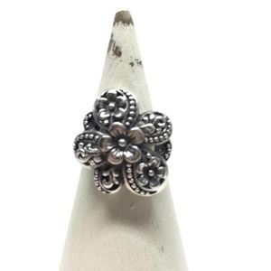 Flower Ring Size 9 Sterling Silver, Bohemian